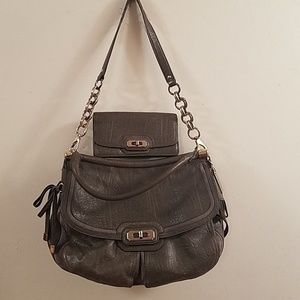 Dark gray Coach purse with matching wallet